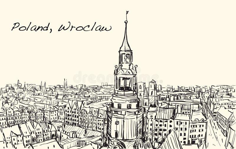 Schizzi il paesaggio urbano città della Polonia, Wroclaw, illustr di tiraggio della carta bianca illustrazione di stock