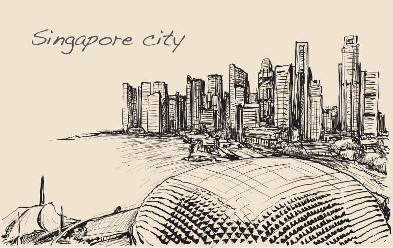 Schizzi il paesaggio urbano dell'orizzonte di Singapore, tiraggio della carta bianca illustrazione vettoriale