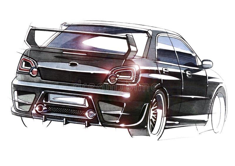 Schizzi l'automobile urbana della gioventù in uno stile sportivo con un motore ad alta velocità potente fotografia stock