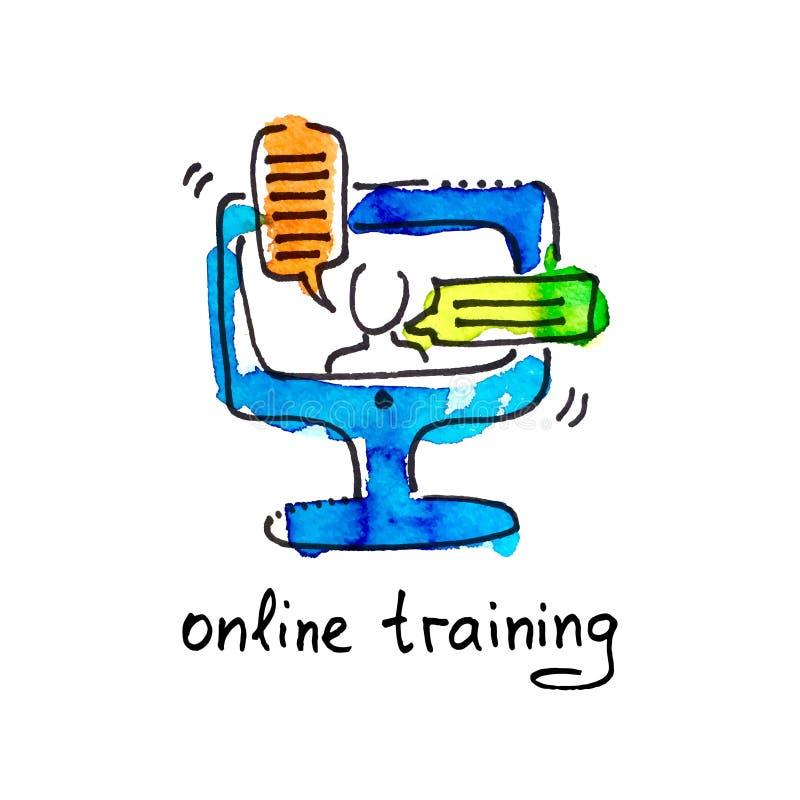 Schizzi l'icona dell'acquerello di addestramento online, istruzione a distanza royalty illustrazione gratis