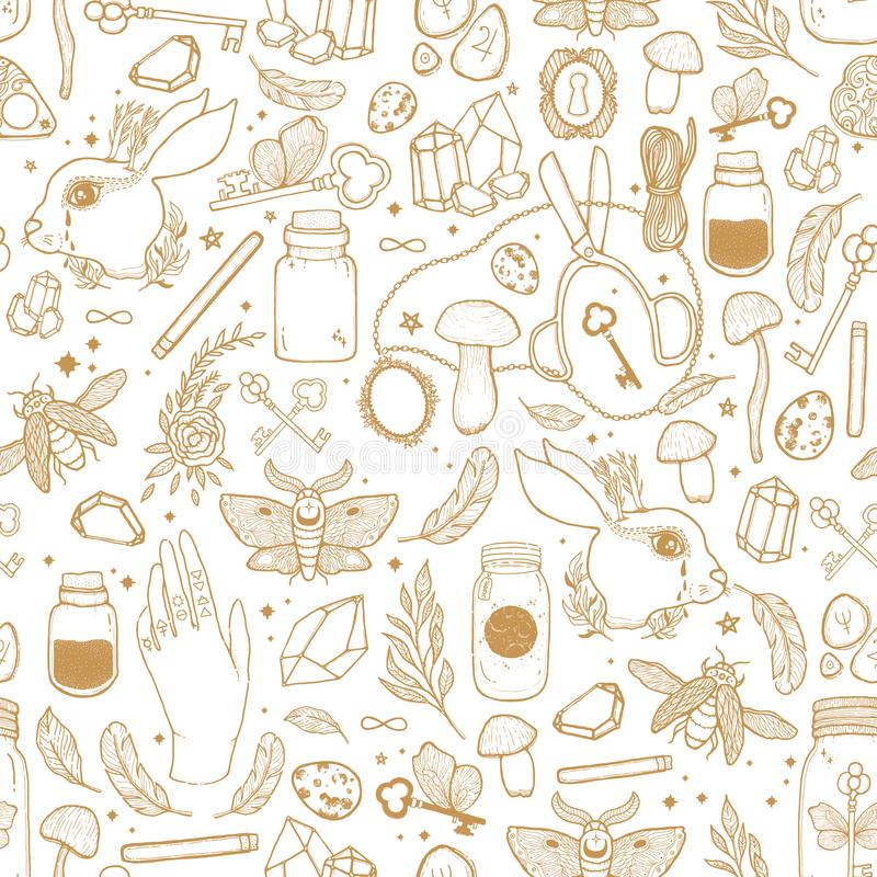 Schizzi l'illustrazione senza cuciture del modello del grafico di vettore con i simboli disegnati a mano mistici ed occulti Conce royalty illustrazione gratis