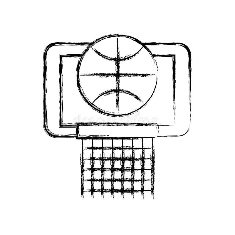 Schizzi la palla del canestro di tiraggio nella progettazione grafica di vettore del fumetto del cerchio illustrazione di stock