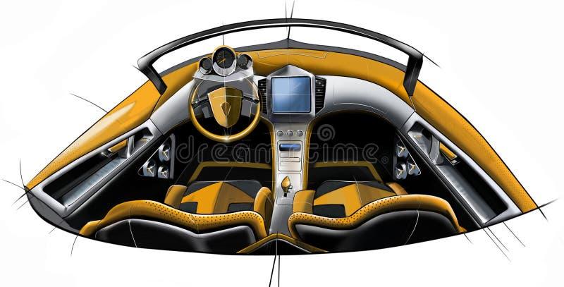 Schizzi la progettazione dell'interno concettuale moderno di un'automobile del coupé di sport Illustrazione immagine stock