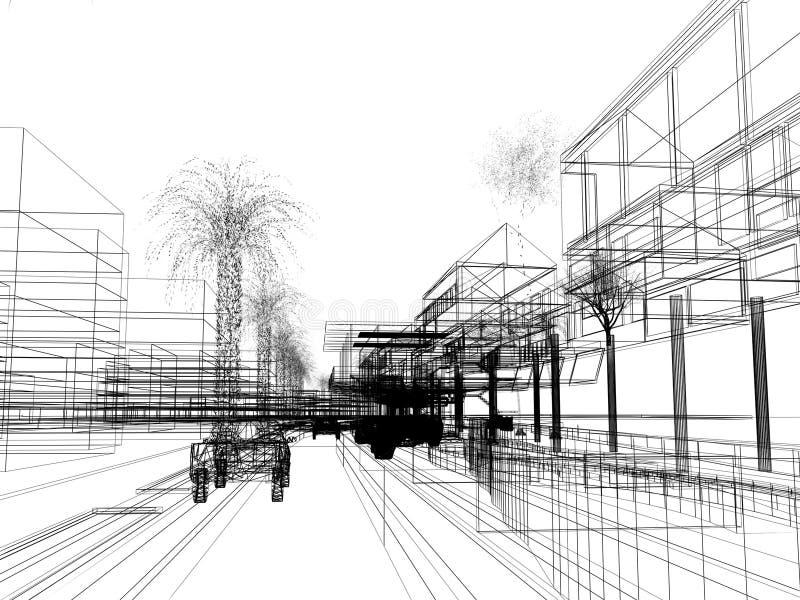 Schizzi la progettazione di urbano, struttura del cavo 3d rendono illustrazione vettoriale