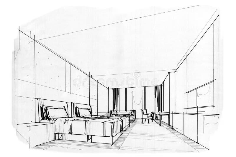 Schizzi la camera da letto interna dell 39 ufficio di for Design stanza ufficio