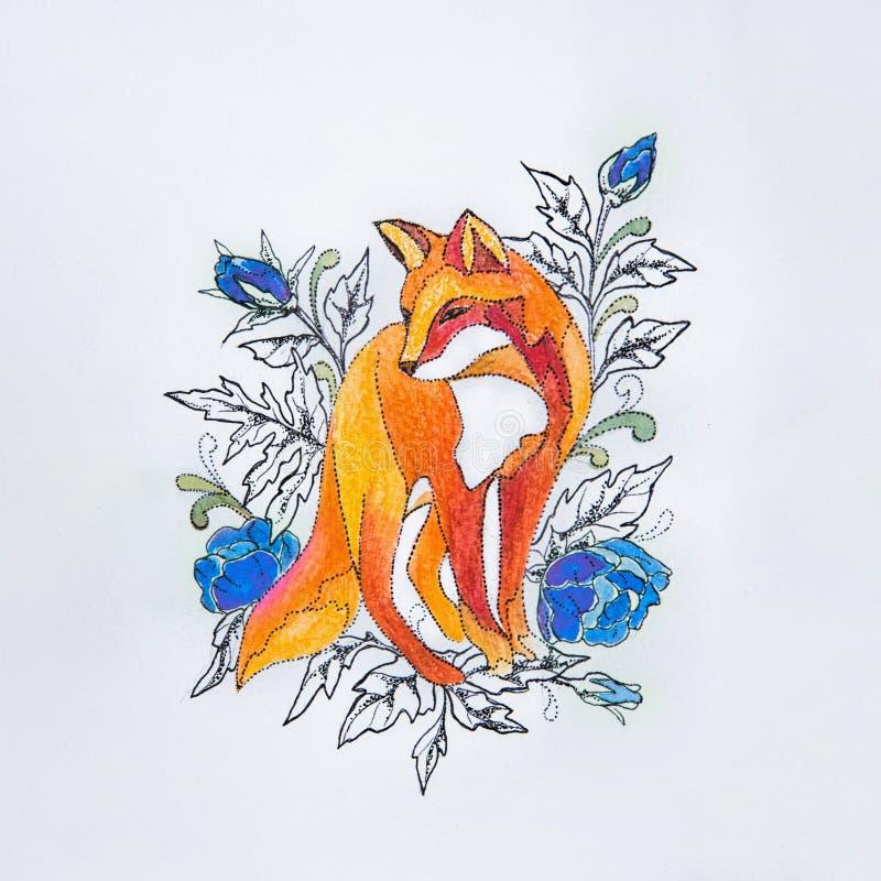 Schizzi le volpi nei fiori su un fondo bianco fotografia stock libera da diritti