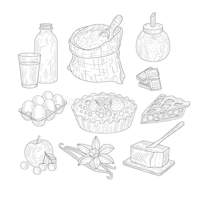 Schizzi realistici disegnati a mano degli ingredienti di cottura della torta illustrazione di stock
