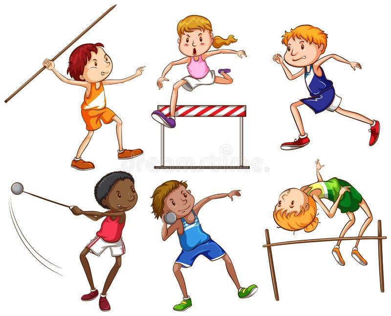 Schizzi semplici della gente che si impegna negli sport differenti illustrazione vettoriale