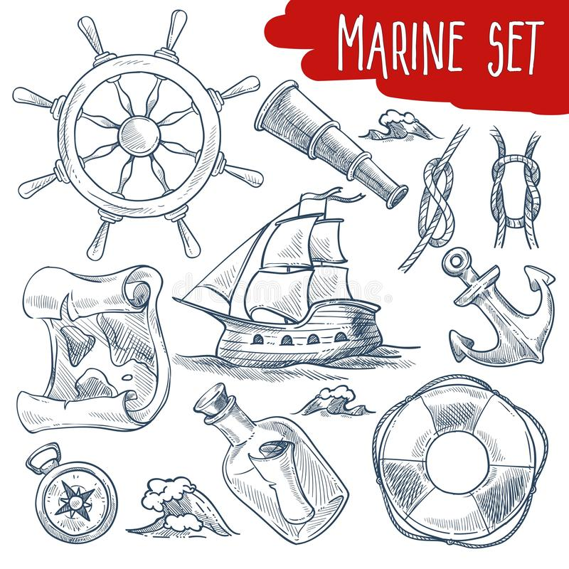 Schizzi stabiliti marini degli oggetti di viaggio della nave e di navigazione illustrazione di stock