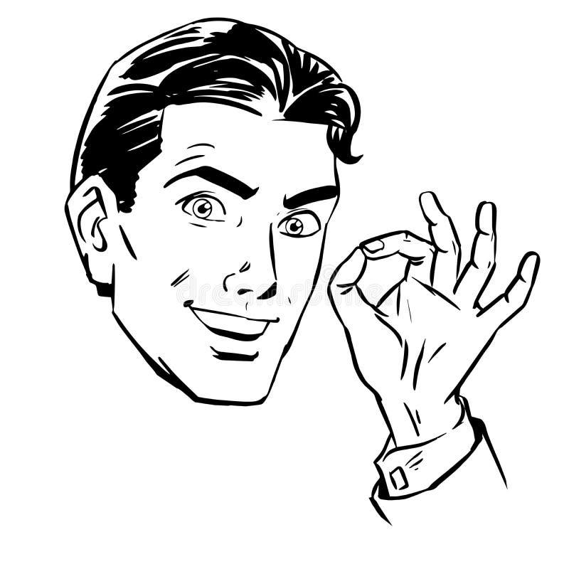 Schizzi un uomo vuole l'approvazione di gesto royalty illustrazione gratis