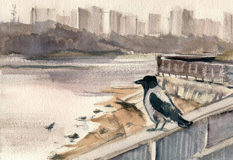 Schizzi urbani Argine della città con un corvo royalty illustrazione gratis