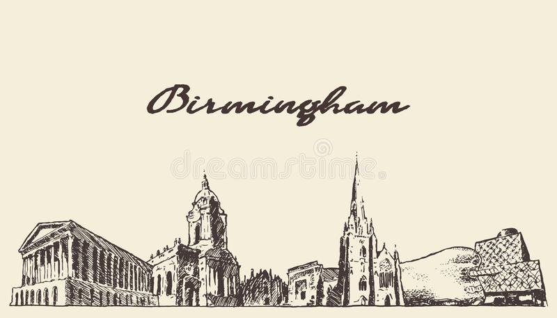 Schizzo ad ovest di tiraggio di vettore dell'Inghilterra dell'orizzonte di Birmingham royalty illustrazione gratis