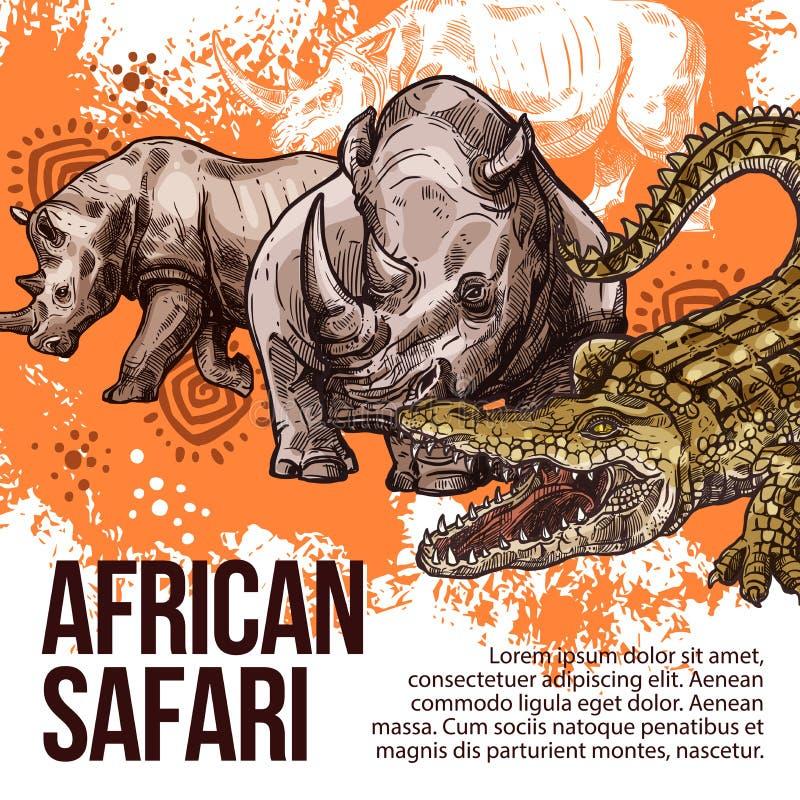 Schizzo africano di vettore degli animali selvatici di safari illustrazione di stock