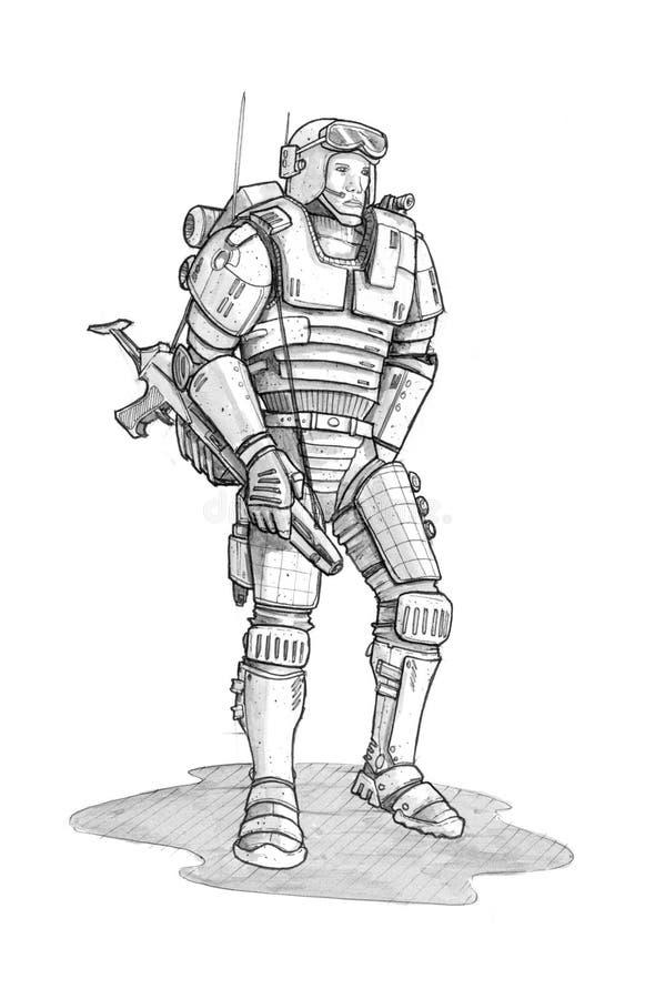 Schizzo approssimativo dell'inchiostro di lerciume nero del soldato futuro di fantascienza illustrazione vettoriale