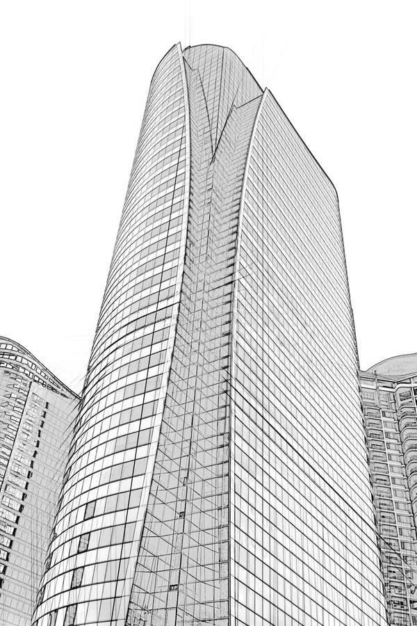 Schizzo architettonico del disegno dell'edificio per uffici fotografia stock libera da diritti