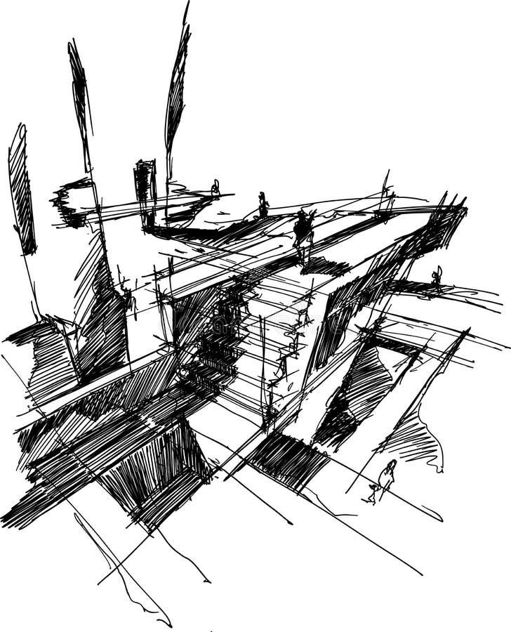 Schizzo architettonico di architettura astratta fantastica illustrazione di stock