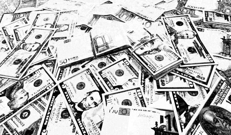 Schizzo in bianco e nero dei dollari del fondo euro fotografia stock