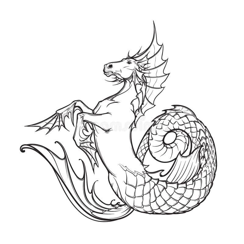 Schizzo in bianco e nero dell'acqua di kelpie o dell'ippocampo della bestia soprannaturale illustrazione vettoriale