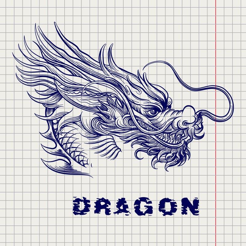 Schizzo capo del drago alla pagina del taccuino illustrazione di stock