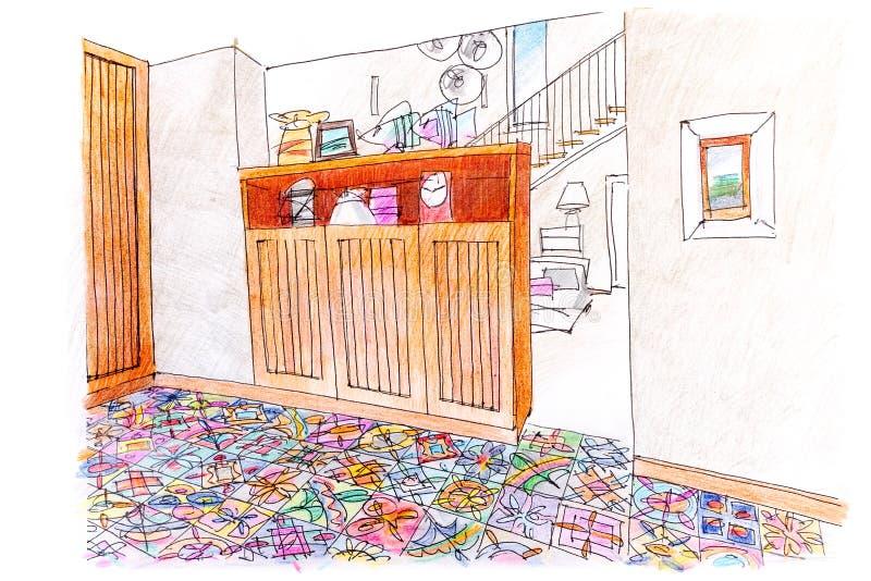 Schizzo colorato disegnato a mano dell'interno del salone illustrazione di stock