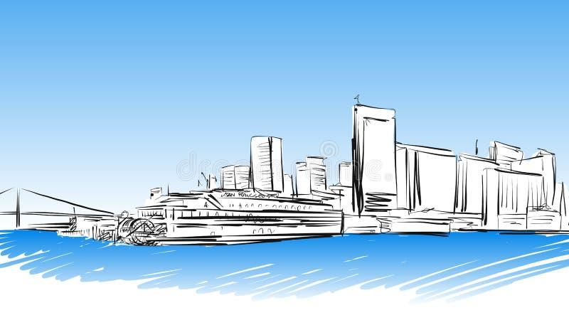 Schizzo colorato Francisco Downtown di San illustrazione di stock