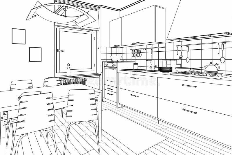 Schizzo compatto dell'attrezzatura della cucina illustrazione di stock