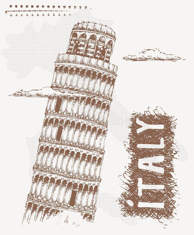 Schizzo con la torre di Pisa L'illustrazione disegnata a mano di vettore con testo Italia e Pisa si eleva Progettazione della mag illustrazione di stock