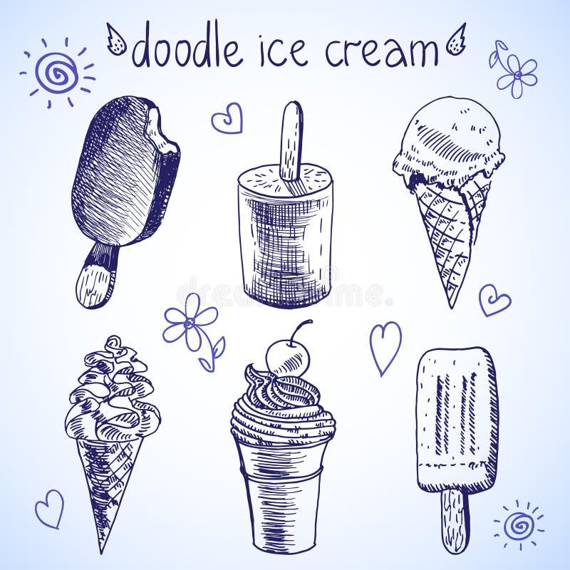 Schizzo congelato di stile del dessert del gelato di scarabocchio illustrazione di stock