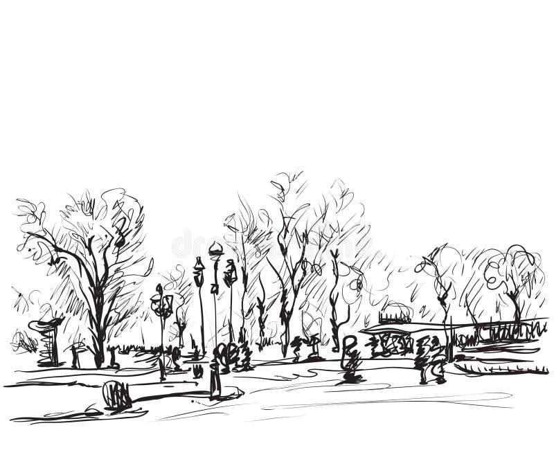 Schizzo degli alberi Paesaggio di inverno di scarabocchi illustrazione di stock