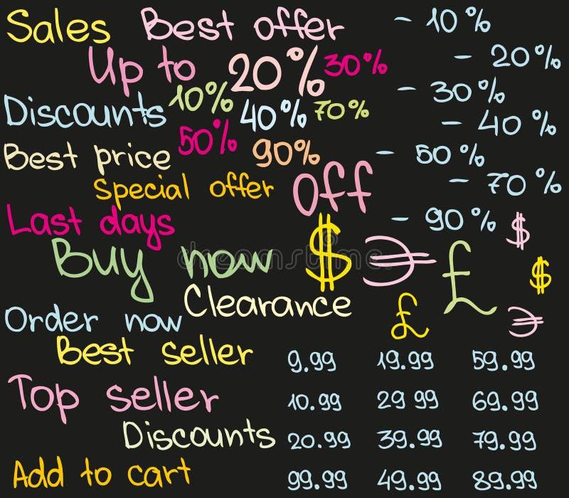 Schizzo dei prezzi da pagare illustrazione di stock