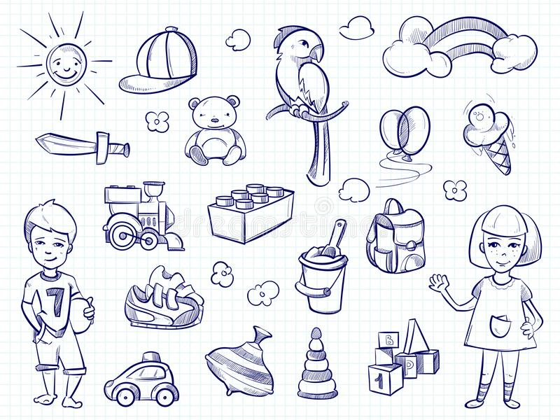 Schizzo dei sogni dei bambini Ragazza disegnata a mano, ragazzo, giocattoli illustrazione vettoriale