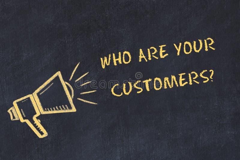 Schizzo del bordo di gesso con testo scritto a mano che è i vostri clienti illustrazione vettoriale