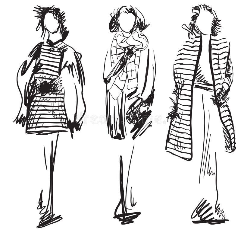 Schizzo del cappotto d'uso della donna Vestiti di inverno royalty illustrazione gratis