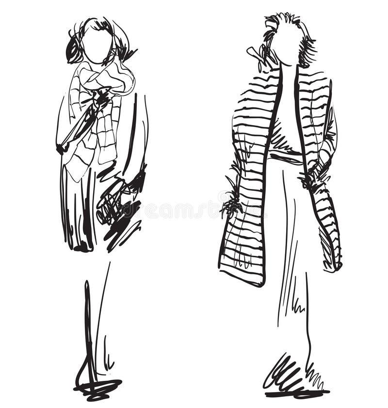 Schizzo del cappotto d'uso della donna Vestiti di inverno illustrazione di stock