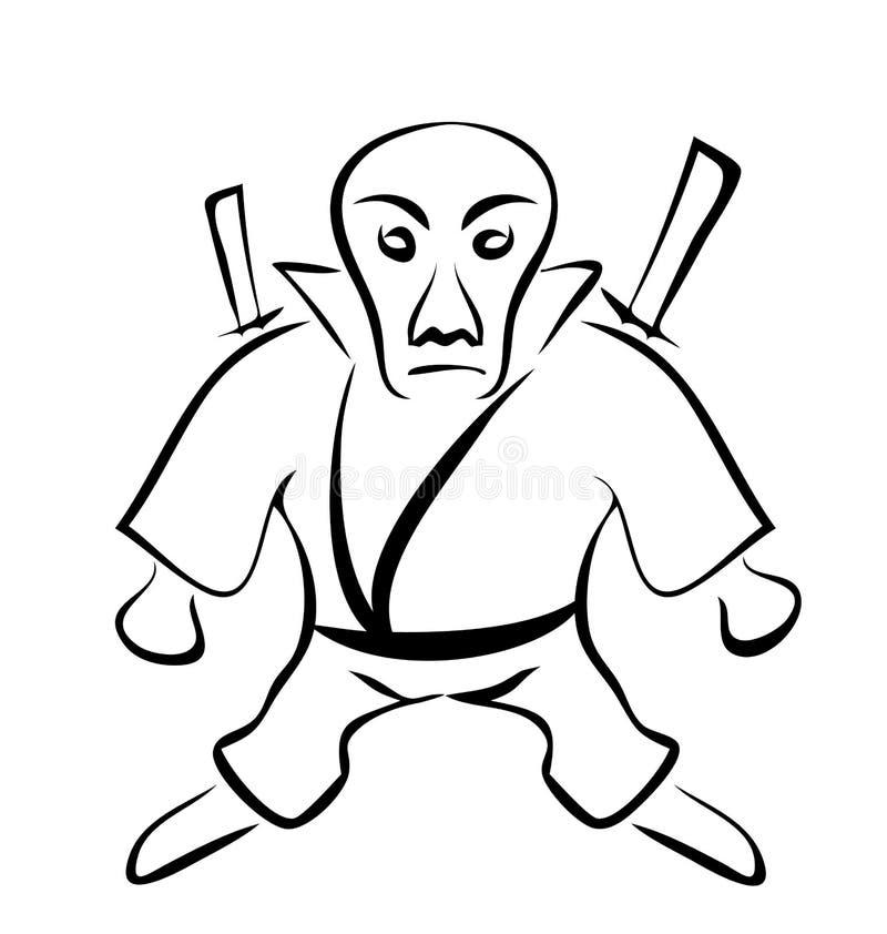 Schizzo del carattere Ninja, isolato su fondo bianco illustrazione di stock