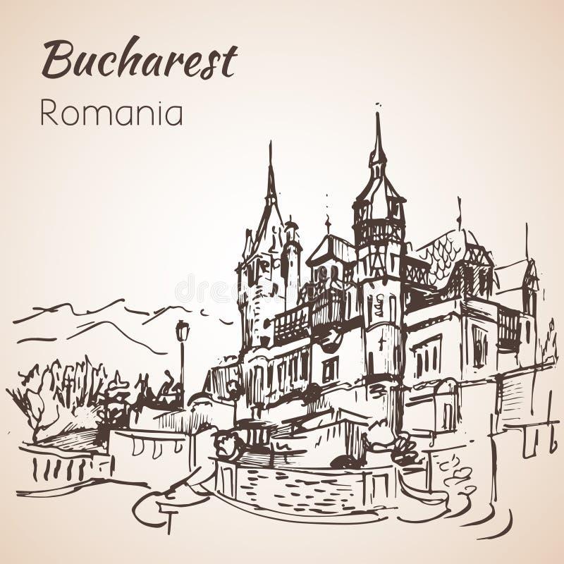 Schizzo del castello di Peles Bucarest, Romania royalty illustrazione gratis