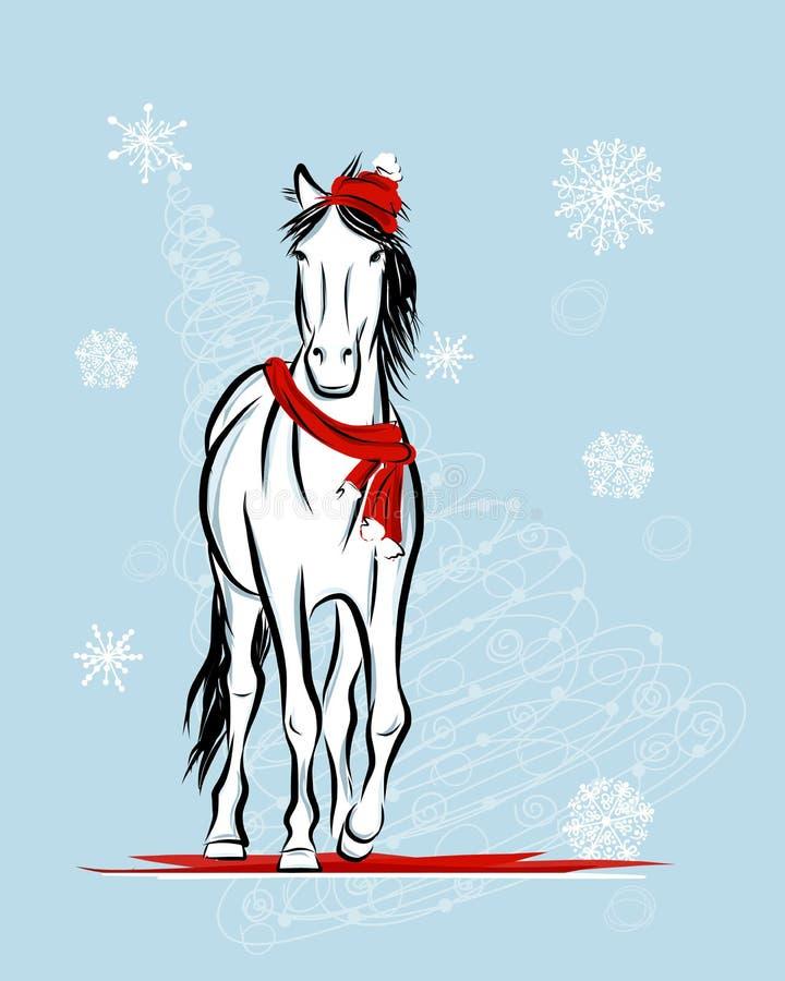 Schizzo del cavallo di Santa per la vostra progettazione. Un simbolo di 2014 illustrazione vettoriale