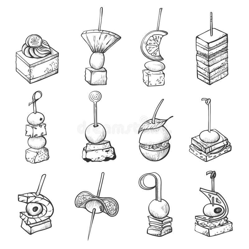 Schizzo del cibo da mangiare con le mani, pasto piccolo d'approvvigionamento di banchetto illustrazione vettoriale