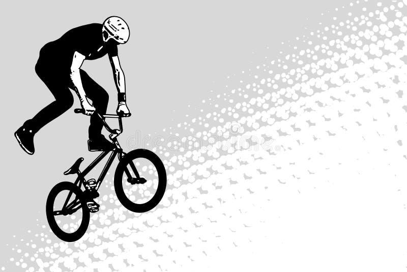 Schizzo del ciclista di Bmx su fondo di semitono astratto illustrazione di stock