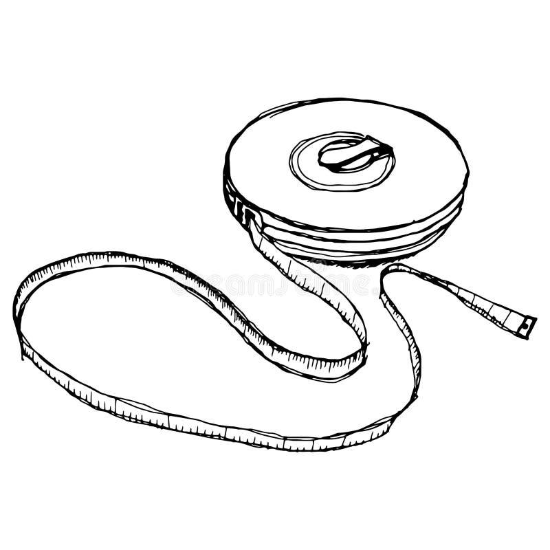 Schizzo del disegno della mano di misura di nastro illustrazione di stock