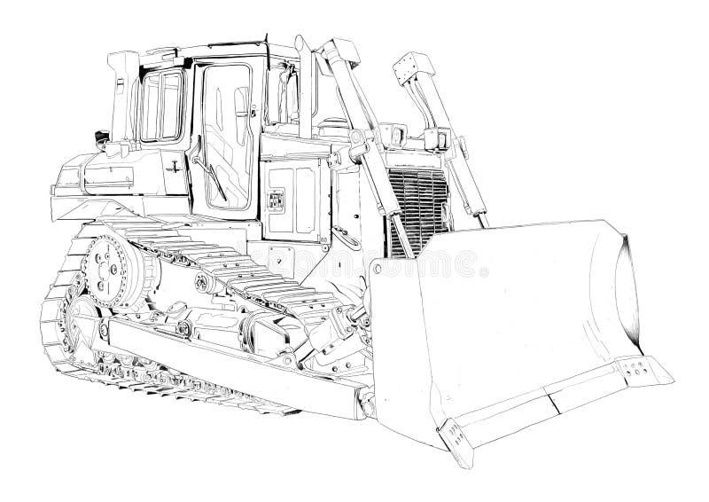 Schizzo del disegno di arte dell'illustrazione del bulldozer fotografia stock libera da diritti
