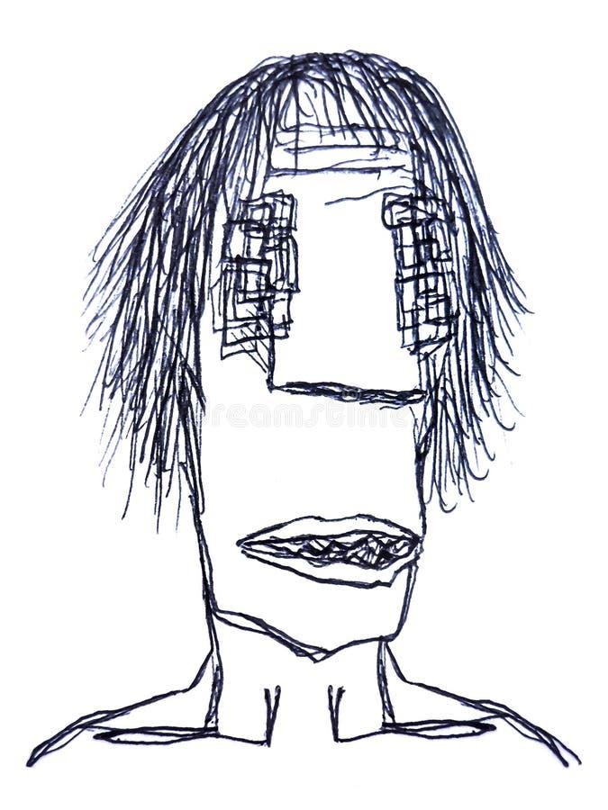 Schizzo del disegno a matita dell'uomo di mostro illustrazione di stock