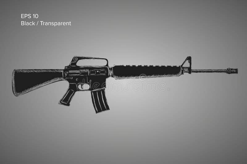 Schizzo del fucile di assalto Illustrazione classica di vettore dell'armamento Disegno di stile della matita illustrazione vettoriale