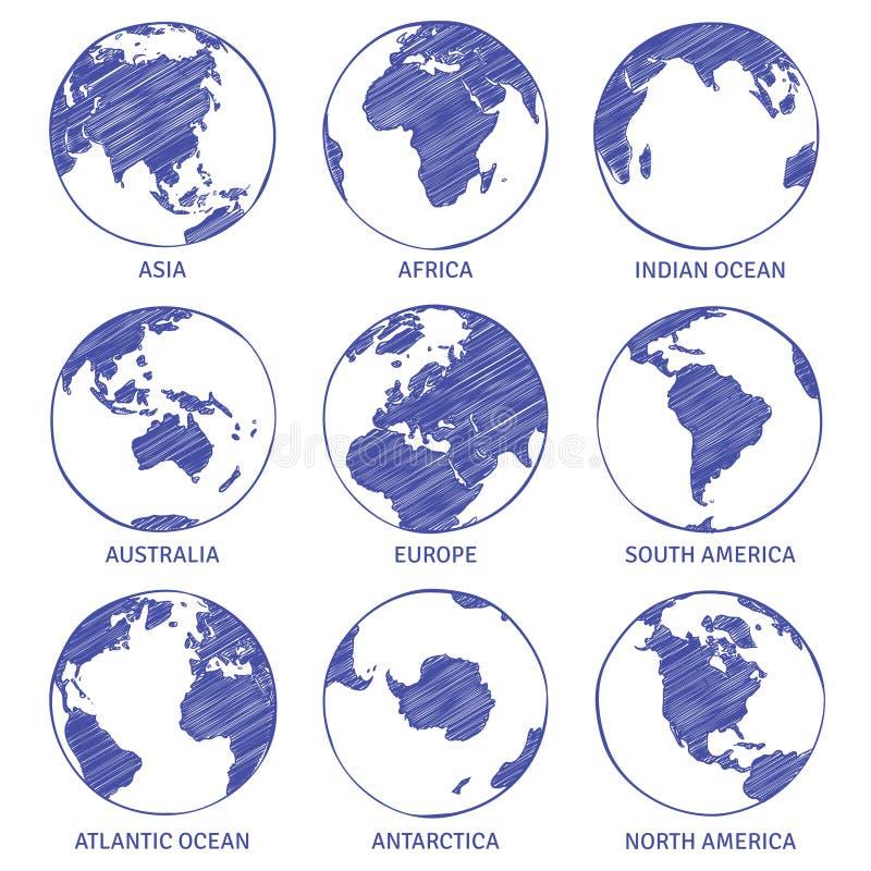 Schizzo del globo Il globo disegnato a mano del mondo della mappa, continenti di concetto del cerchio della terra contorna gli oc illustrazione di stock
