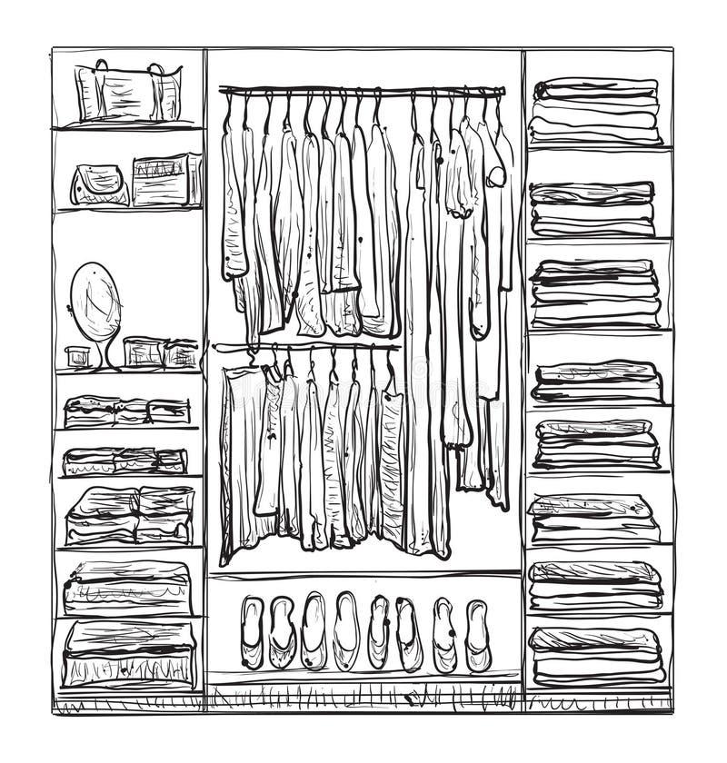 Schizzo del guardaroba Interno della stanza con i vestiti illustrazione di stock