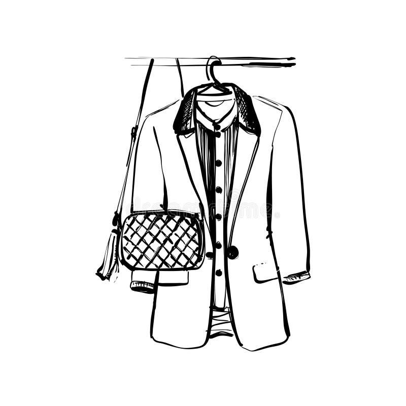 Schizzo del guardaroba Rivestimento e borsa su fame illustrazione vettoriale