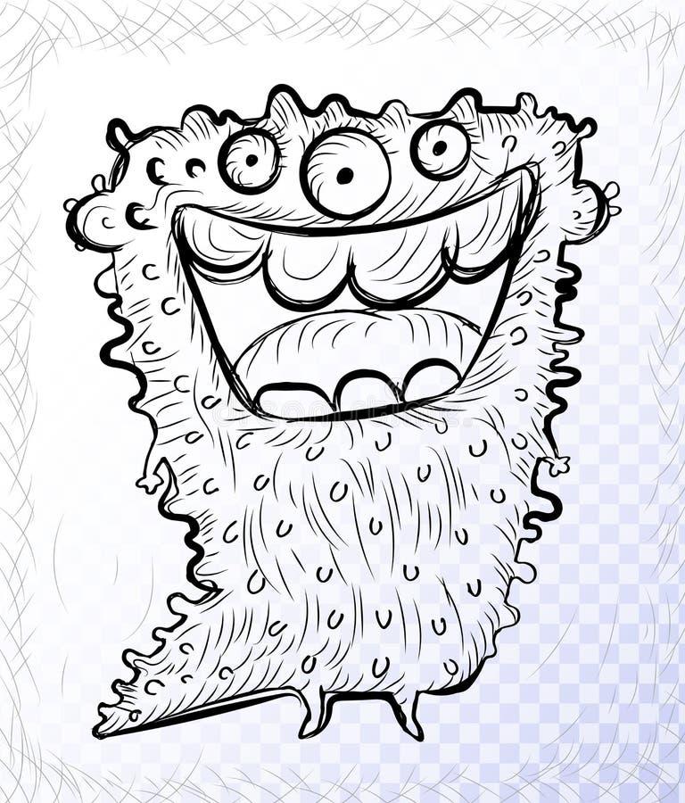 Schizzo del mostro dello scarabocchio o dello straniero sveglio di fantasia di scarabocchio illustrazione vettoriale