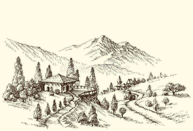 Schizzo del paesaggio del villaggio e dell'azienda agricola illustrazione vettoriale