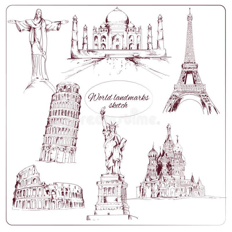 Schizzo del punto di riferimento del mondo illustrazione vettoriale