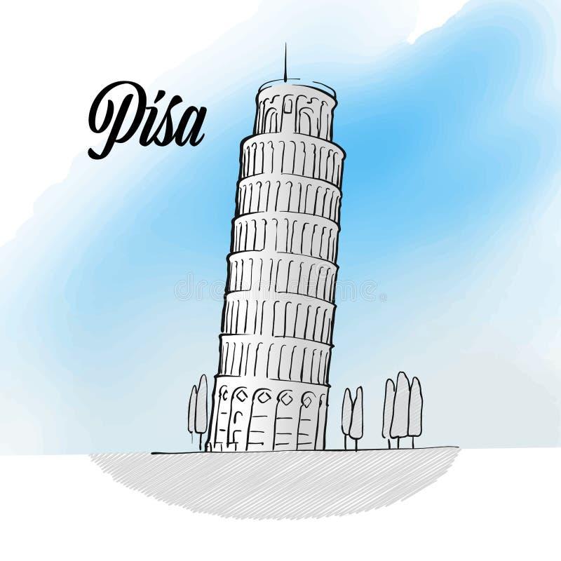 Schizzo del punto di riferimento della torre di Pisa royalty illustrazione gratis